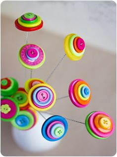 Diy and Crafts: DIY Flowers - Make Button Flowers