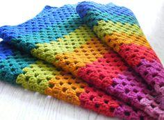 Crochet rainbow blanket multicolor baby blanket home by NatkaLV, $42.00
