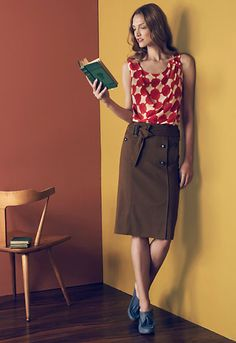 Pencil skirts and fun graphic tops.