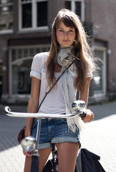jean shorts, summer styles, fashion, bicycl, white shirts, outfit, denim shorts, scarv, bike style