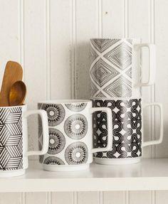 Black and white kitchen accessories: Rosanna Stockholm black and white set