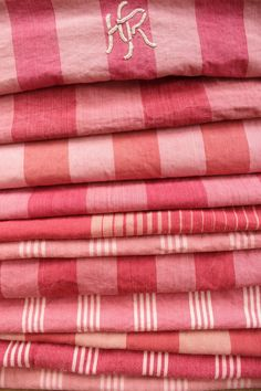 Antique Vintage French red pinks Ticking fabric ~