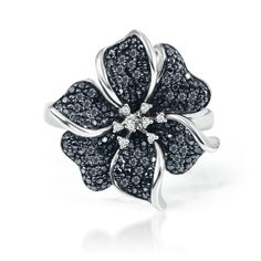 1/4ct TW Flower Black & White Diamond Ring in Sterling Silver @Helzberg Diamonds Diamonds Diamonds #diamonds #rings #jewelry #aislestyle Enter the Aisle Style Sweeps for a chance to win up to $3,000 in gift certificates from David's Bridal & Helzberg Diamonds! Enter now thru 9/2: http://sweeps.piqora.com/aislestyle Rules: http://sweeps.piqora.com/contests/contest/content/davidsbridal.com/310/rules