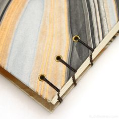 Stitching closeup on Black and Gold handmade journal by Ruth Bleakley #bookbinding
