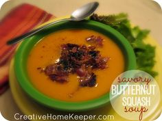 Rich and creamy, this savory butternut squash soup is delicious and the perfect fall comfort food all while being incredibly nutritious and healthy too!  | CreativeHomeKeeper.com