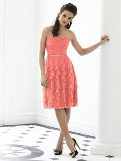Pretty! Coral bridesmaid dress.