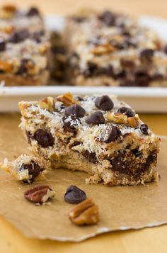 Grain-Free Magic Cookie Bars {Dairy-Free, Paleo} | Meaningful Eats use egg substitute.