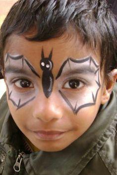 paint idea, fancy design face paintings, bats, paint designs, facepaint, quick face painting ideas, bat face, kid, halloween