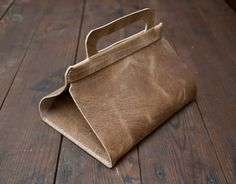 Leather Lunch Tote | Wood