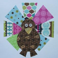 Cute turkey for Thanksgiving shirt....or to put on an apron! How cute. Something else to do with my quilting scraps.