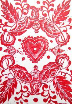 Patterns | Prints | Textiles #Red Heart Original Lino Cut Print - Folksy