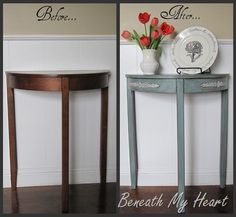 Table Makeover using Valspar Antiquing Glaze and Minwax Wipe-On Poly