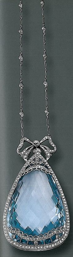 Antique Aquamarine and diamond pendant which was auctioned off at Sotheby's in 2001. by leslie