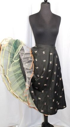 Vintage 50s/60s Eyeful Embroidered Black Satin Can Can Petticoat Crinoline S $58