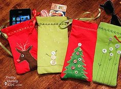 Mini Gift Pouches from Napkins - Reuse these sewn gift pouches year after year. || would be great presentation for gift cards with candies mixed in button flowers, gift pouch, gift cards, diy gifts, diy christmas gifts, christmas gift bags, little gifts, bag tutorials, cloth napkins