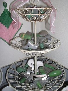 Vintage green cookie cutter collection