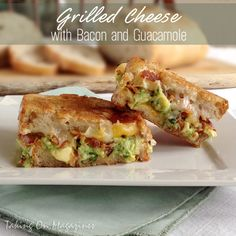 Grilled Cheese with Bacon and Guacamole | Taking On Magazines | www.takingonmagazines.com | Creamy guacamole is joined by 3 delicious cheeses and crisp, salty bacon in this lunch favorite.
