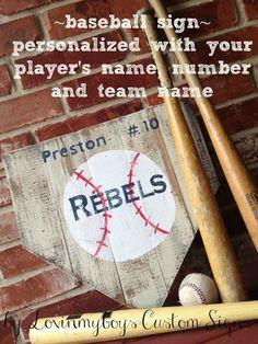 Personalized baseball sign by lovinmyboys on Etsy, $50.00