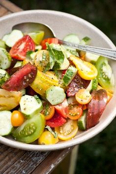 cucumber heirloom tomato salad