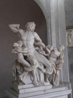 Laocoon and his Sons: This statue depicts the ancient story of Laocoon, who was a priest of the god Poseidon in the city of Troy. Laocoon set out to warn the Trojan's of the Trojan horse. He was ordered to death and two serpents were sent to kill him and his sons.