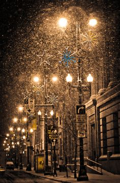 Photo of Snow and Christmas Lights on City Street - Fine Art Photo