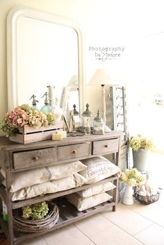 Repurpose an old dresser into a shabby and beautiful open shelf display!