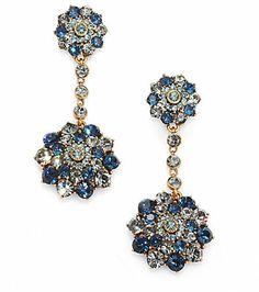 Oscar de la Renta Swarovski Crystal  Drop Earrings