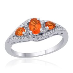 Liquidation Channel | Jalisco Fire Opal and Diamond 3-Stone Ring in Platinum Overlay Sterling Silver (Nickel Free)