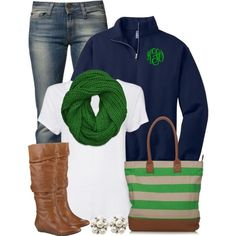 Navy & green! Love scarf, bag, and monogrammed pull-over...rather have full zip-up jacket.