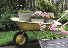 old wash buckets ...painted whellbarrow plant, pink flowers, garden ideas, wheel, outdoor, potted flowers, yard ornaments, vintage roses, old wagons