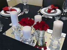Christmas table decorating with red, white, silver and crystal