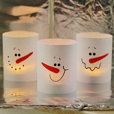 Paper Snowman Luminaries in 3 Minutes - Crafts by Amanda