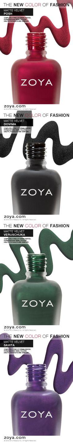 Zoya MatteVelvet from top to bottom Posh, Dovima, Veruschuka, Savita. Available only on zoya.com for a limited time only!