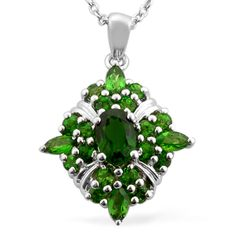 Liquidation Channel: Russian Diopside Pendant with Chain (18 in) in Platinum Overlay Sterling Silver (Nickel Free)