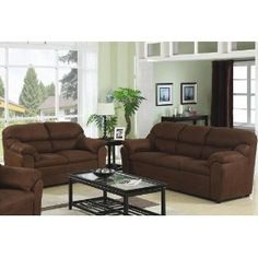 2pc Sofa Set with Pillow Padded Arms in Chocolate Microfiber
