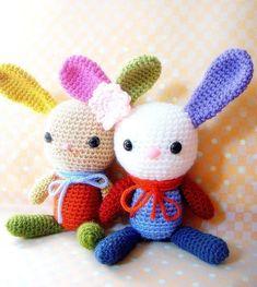 Amigurumi bunny pattern - Rainbow Bunny - Crochet animal tutorial PDF. $4.50, via Etsy.
