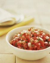 Fresh Salsa Recipe. I use 4 tomatoes (seeded, unpeeled), 3-4 tbsp finely chopped onion, 2 minced garlic cloves, 1 finely chopped jalapeno, 3 tbsp minced cilantro, juice of 1/2 lime, salt and pepper. Mix and let sit for a few hours in the fridge before serving for optimal flavour. Serano pepper works just as well.
