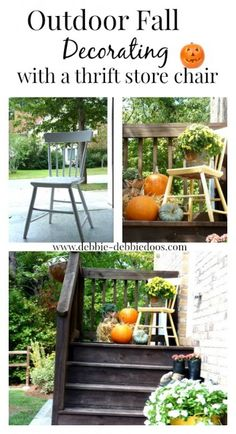 Outdoor #Falldecorating with a #thriftstore chair