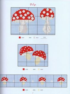 Gallery.ru / Фото #39 - 388 - Yra3raza borduren, cross stitch mushroom, knit chart, mushroom knitting chart, knit stitches, cross stitch patterns, clever cross, count cross, cross stitches