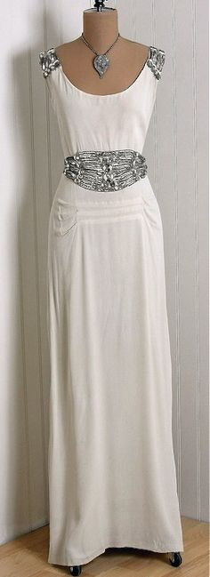 1930's Vintage Ivory-White Beaded Rhinestone Silk-Crepe Gown.