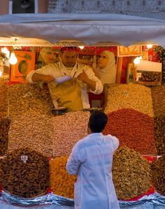 Fruit and nut sellers fill Marrakech's Jamaa al-Fna Square, which is abuzz with activity in the afternoon and evenings.