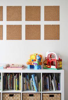 how to display kids artwork, kid playroom, kid art, corkboard tile, child artwork, cheap kid organize