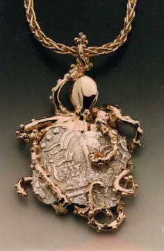 14k Octopus Pendant w/ Authentic Atocha Spanish Shipwreck Treasure Coin