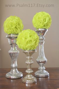 12 - 6 inch wide - LIME - wedding pomanders -  you choose ribbon color. $120.00, via Etsy. - $10 each - 6 inch rose flower balls www.psalm117.etsy.com - custom orders!
