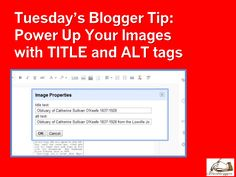 Tuesday's Tip – Using Title and ALT Text on Blogger Images