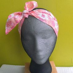 Pink Vintage fabric headscarf by madeindenim on Etsy, £4.00