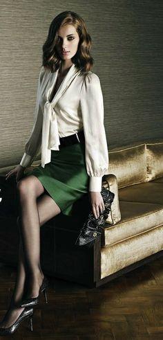 Green Satin Skirt White Blouse Wide Black Belt and Black High Heels