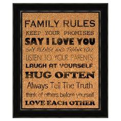 Family Rules Framed Cork Board