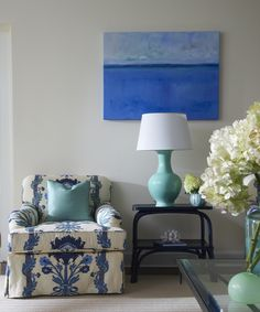 cobalt, white and turquoise by Lynn Morgan designs  ~~~I would use a different lamp and shade and lower artwork.