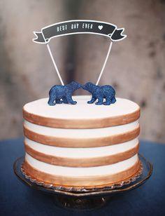 blue glitter bear cake toppers